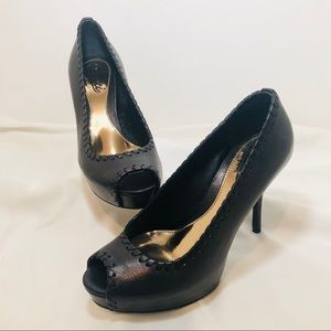 Gucci Sophia Peep Toe Platform Heel Pumps Shoes